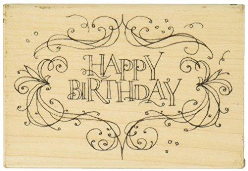 Inkadinkado Wooden Happy Birthday Card Stamp, 2.625'' W x 4'' L