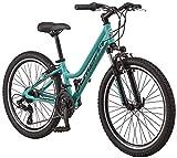 Schwinn High Timber AL Youth/Adult Mountain Bike, Aluminum Frame, 24-Inch Wheels, 21-Speed, Teal