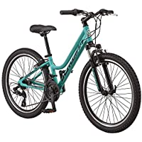 Schwinn High Timber Youth/Adult Mountain Bike, 24 Inch Wheels, Aluminum Frame (Teal)