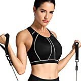 SYROKAN Women's High Impact Padded Supportive Wirefree Full Coverage Sports Bra Black 34DD