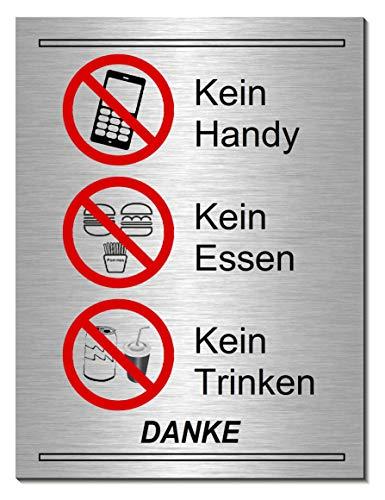 Essen-Trinken-Getränke-Handy verboten-Schild 200 x 150 x 3 mm-Aluminium-Edelstahloptik silber mattgebürstet-Türschild-Hinweisschild-Warnschild (249-6 -20 x 15 cm mit Klebepads)
