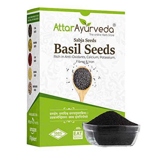 Attar Ayurveda Sabja Basil Seeds for Weight Loss - 400 gm (Reduces Body Heat)