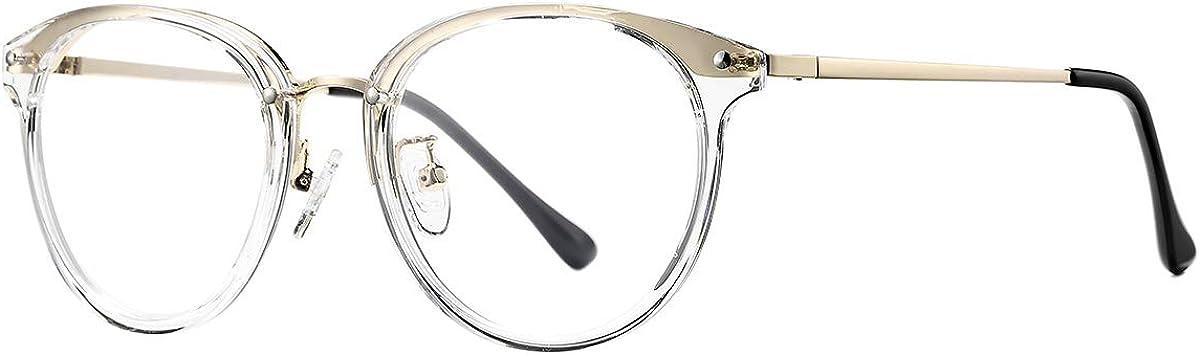AZORB Round Non-Prescription Glasses for Women Clear Lens Eyewea