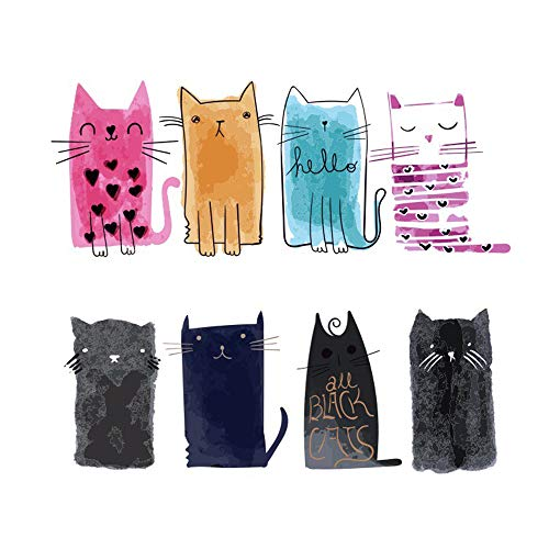 FineInno 2 Packs DIY Iron-on Transfers Cute Cat Animal Patches Appliques Vinyl Washable Sticker Decals Heat Thermal Transfers Printed Decor Accessories Kit for T-Shirt, Jeans, Bags, Hats (Big cat)