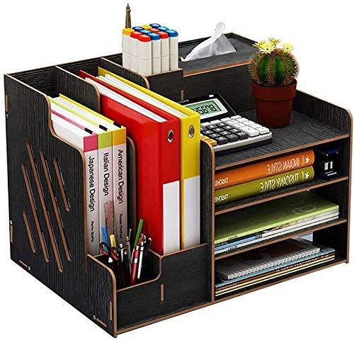 Archivadores Escritorio ordenado estacionario Gabinete de almacenamiento Organizador de escritorio estante Comprende básico compartimentos Pequeños accesorios de madera - 39 x 29 x 28cm Caja de archiv