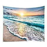 DreamyDesign Seaside Sunset Pattern Wandteppich Naturlandschaft Wandbehang Natur Landschaft Tapisserie Dekoration Wesentliche Gegenstände für die Dekoration des Wohn Schlafzimmers(130 x 150 cm)