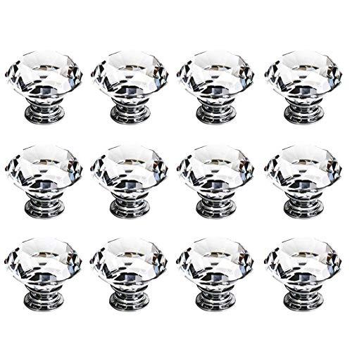 Kristall Knöpfe Schubladenknöpfe Schrankknöpfe Möbelknöpfe Schrank 12 Stück 30 mm Kristall Möbelgriffe Möbelknauf Schrankgriffe für Küche Büro