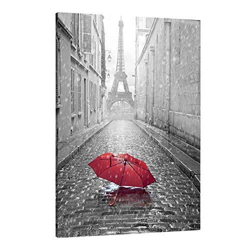Daams Cuadro Decorativo Urbano Acrílico Sombrilla en Paris Torre Eiffel Blanco y Negro Impresión HD Decoración de Interiores Cuadros...