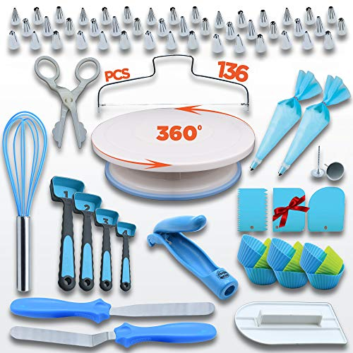 Cake Decorating Kit - Cake Decorating Supplies - Baking Supplies - Cake Turntable - Piping Bags - Russian Piping Tips Set - Decorating Pen - Cupcake - Spatulas - Spoons - Cake Decorating Tools & More