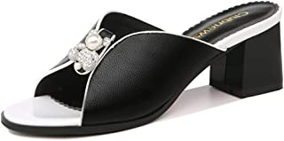 Cosplay-X Women's Low Block Heel Mules Open Toe Platform Sandals Ladies Sexy Slip-on Slide Slippers