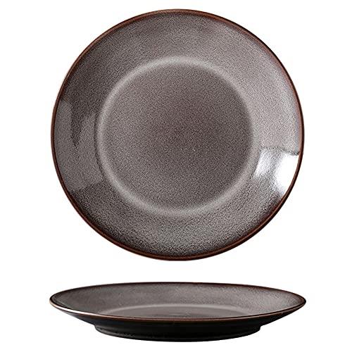 ELLENS Plato Llano de cerámica, Plato de Porcelana Vintage nórdico, Apto para lavavajillas, microondas y Horno (Rojo/Gris/Verde/marrón)