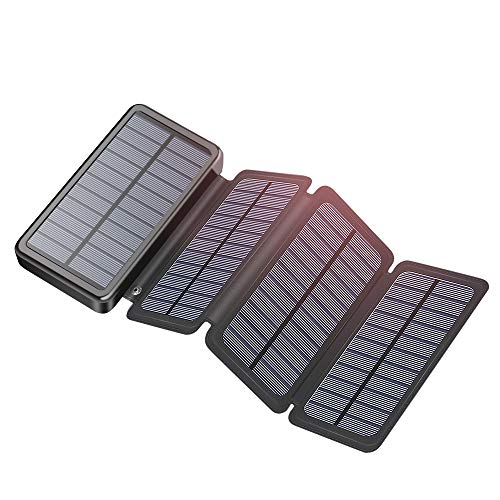 Solar Charger 25000mAh CONXWAN 18W PD USB C Portable Charger QC 3.0 Power Bank for iPhone11, Samsung...
