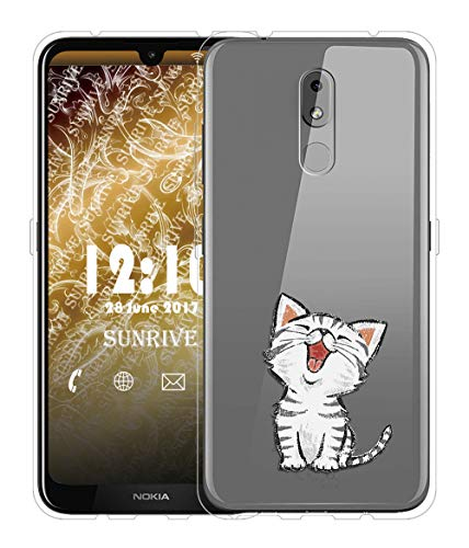 Sunrive Für Nokia 3.2 Hülle Silikon, Transparent Handyhülle Schutzhülle Etui Hülle für Nokia 3.2(TPU Katze 2)+Gratis Universal Eingabestift MEHRWEG