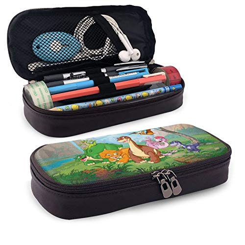 Land Before Time Leather Pen Case Holder Cosmetic Double Zipper Bag for Adults Girls Boys School Office