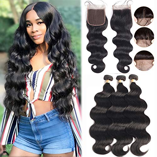 Brazilian Body Wave 3 Bundles with Lace Closure (20 22 24+18 Closure) 4x4 Lace Closure with Bundles Virgin Human Hair Bundles with Closure Free Part LUXEDIVA 8a Hair Extensions