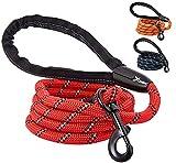 candure guinzaglio per cani, elastico nylon riflettente resistente guinzaglio cane con morbida imbottita impugnatura , 5ft guinzaglio addestramento per cani taglia grande,media e piccola (rosso)