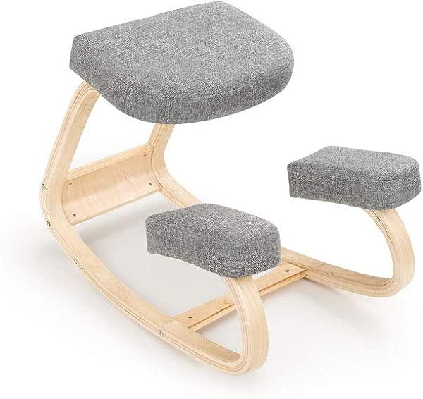 抬升书桌人体工学跪椅灰色