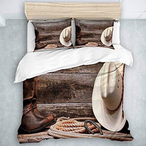 Juego de funda nórdica, decoración occidental, sombrero de vaquero de paja blanca de rodeo americano del oeste con botas de cuero Lariat en madera rústica de granero, funda de edredón de estilo modern