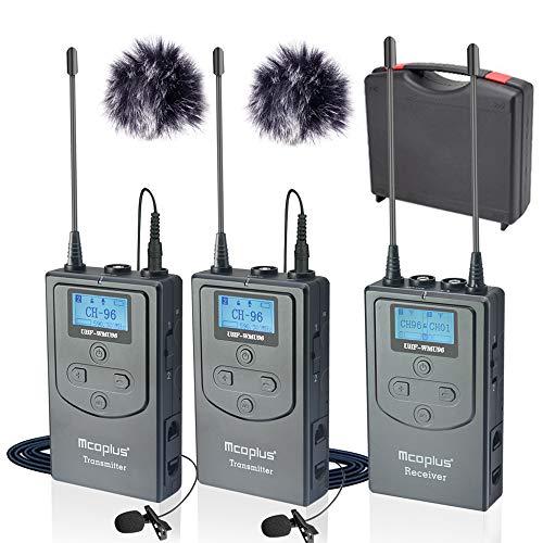 Mcoplus 96 canali UHF Wireless Lavalier Microfono Dual Channel per Smartphone, Canon Nikon Sony Panasonic Videocamere DSLR