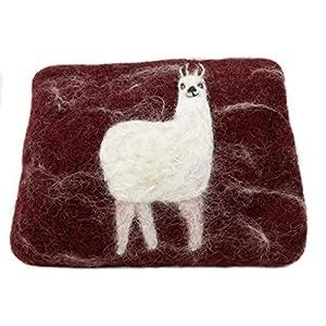 feelz – Täschchen aus Filz mit Lama, klein Filztäschchen Alpaka, Geldbeutel mit Tiermotiv Geschenk Mädchen – Fairtrade