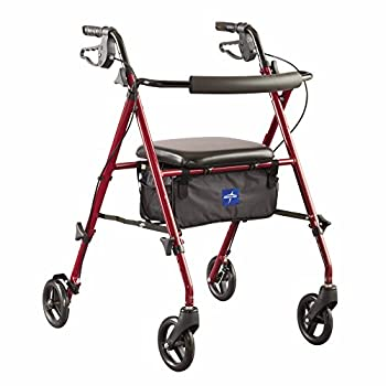 Medline Freedom Mobility Lightweight Folding Aluminum Rollator Walker with 6-inch Wheels Adjustable Seat and Arms Burgundy