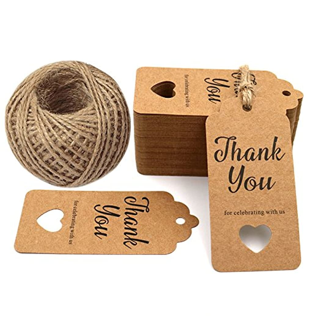 Thank You for Celebrating with Us,Original Design Paper Gift Tags,100 PCS Kraft Paper Tags Price Tags with 100 Feet Natural Jute Twine