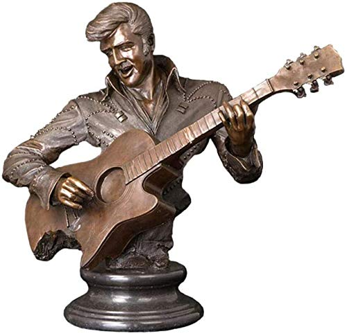 YsKYCA Statues,Collectible Figurines Craft Gift Bronze Man Playing Guitar Music Simple Crafts Bar Cafe Living Room Wedding Gift