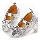 Newborn Baby Girls High Heels Shoes Bowknot Soft Sole Crib Shoes (6-12 M, Silver)