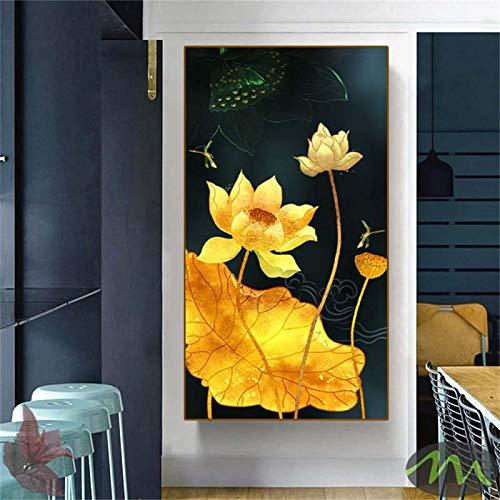 Flores Pintura de arte hermoso loto Imágenes de pared Impresión de carteles e impresiones en lienzo Para la entrada Sala de estar decoración del hogar 70x140cm Sin marco