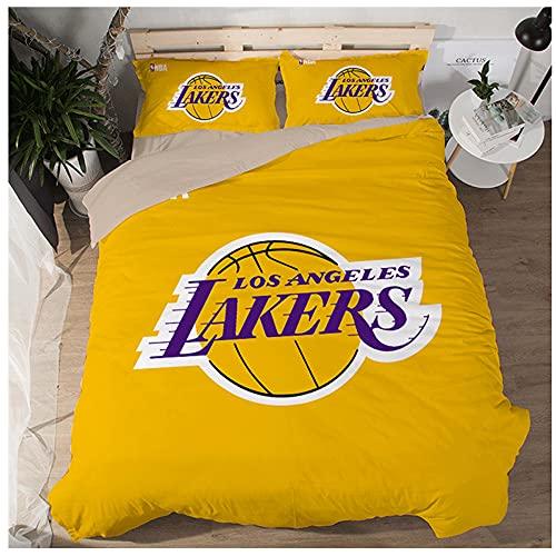 NBA Team Los Angeles Lakers Logo Patrón Funda edredón Suave Juegos 3 Piezas Funda nórdica Impresa 3D 2 Fundas de Almohada Juegos Ropa de Cama para fanáticos Baloncesto Decoración habitación los niños