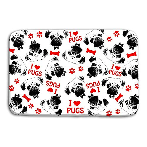 VTYOSQ Washable Fabric Placemats for Dining Room Kitchen Table Decoration 23.6x15.7 Black Red White Graphic Style Pug Dogs Background Portrait Cute Text Symbols as
