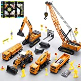 CUTE STONE Construction Vehicles Playset with Playmat, Kids Engineering Truck Set with Crane, Excavator, Tractor with 3 Interchangeable Parts, Cement, Truck, Educational Gift Toy for Toddlers Boys