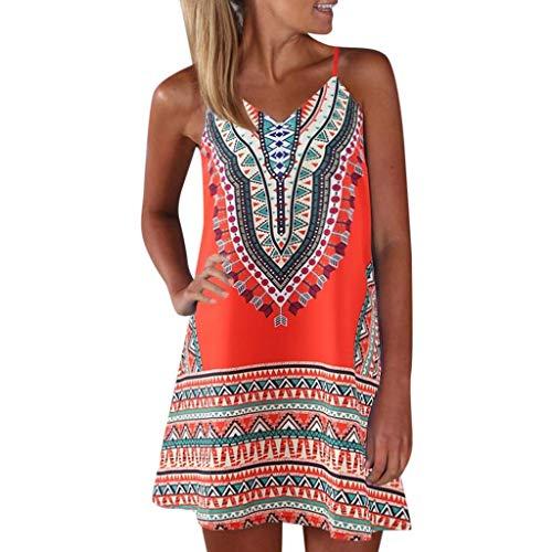 Sommerkleid Ibiza Hippie Damen Kurz A Linie Elegant Kleid Frauen V Ausschnitt Träger Boho Strandkleid