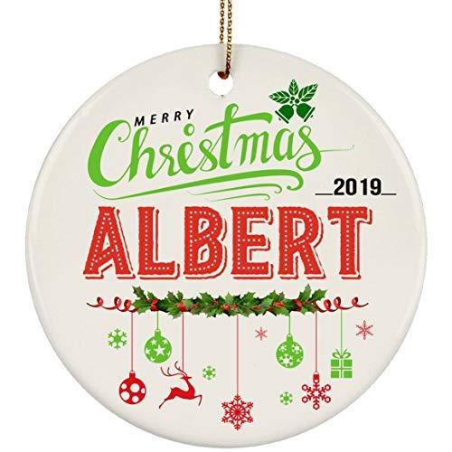 Bru565und - Adorno de cerámica para árbol de Navidad, diseño de bebé con Nombre de Albert, Color Blanco