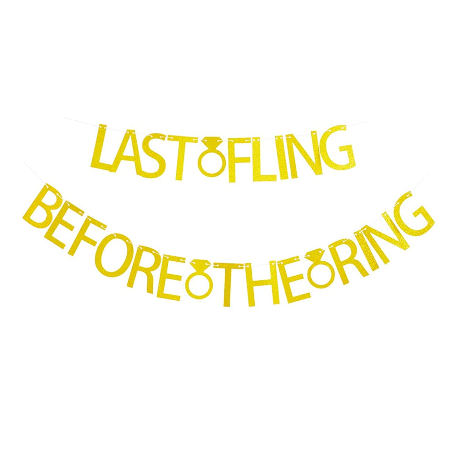 Last Fling Before The Ring Gold Glitter Banner for Bachelorette - Bridal Shower - Wedding Party Sign Decorations