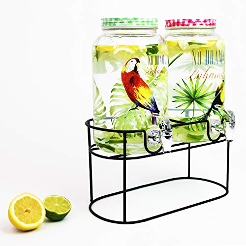 Dispenser per bevande, 2 x 3 litri, diametro 14 x altezza 25 cm, incluso rubinetto e supporto – Dispenser per succhi di frutta, acqua, contenitori in vetro