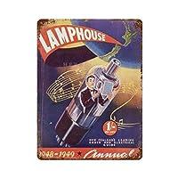 ランプハウスさびた錫のサインヴィンテージアルミニウムプラークアートポスター装飾面白い鉄の絵の個性安全標識警告アニメゲームフィルムバースクールカフェ40cm*30