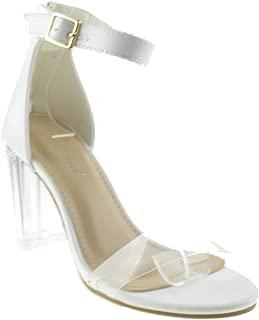 TOP Moda Alma 70 Womens Clear Metallic Chunky Heel Peep Toe Lucite Sandals