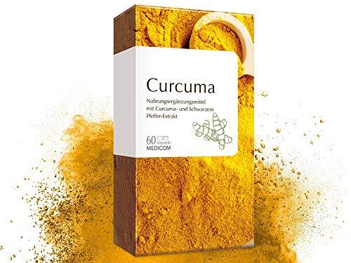 Curcuma 60 Kapseln hochdosiert • hoher Piperin Anteil – 500 mg Kurkuma Extrakt pro Tagesdosis • mit Schwarzem Pfeffer – VEGAN – Gelbwurz Tabletten • Bekannt aus Ihrer Apotheke – Ayurveda-Superfood