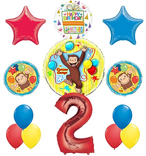 Curious George 2nd Birthday Party Supplies Balloon Bouquet Decorations