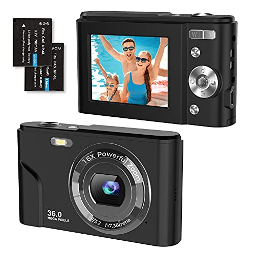 Cámara digital 1080P FHD 2,4 pulgadas, cámara compacta de 36 megapíxeles, cámara de fotos digital, zoom digital de 16x, para niños, adultos, principiantes (negro)