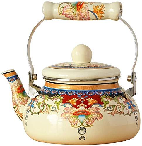 Bouilloire induction 2.5L Enamel Poids léger Tea Bouilloire Sifflant avec une bec traditionnel/rétro for la plaque de cuisson ou la cuisinière Top 18x11cm WHLONG