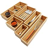 Kootek 6-Piece Bamboo Kitchen Drawer Organizer, 8 Compartments Bamboo Cutlery and Utensils Tray, Silverware Organizer, Adjustable Drawer Divider for Kitchen Utensils, Flatware, Cutlery