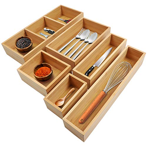 Kootek 6-Piece Bamboo Kitchen Drawer Organizer 8 Compartments Bamboo Cutlery and Utensils Tray Silverware Organizer Adjustable Drawer Divider for Kitchen Utensils Flatware Cutlery