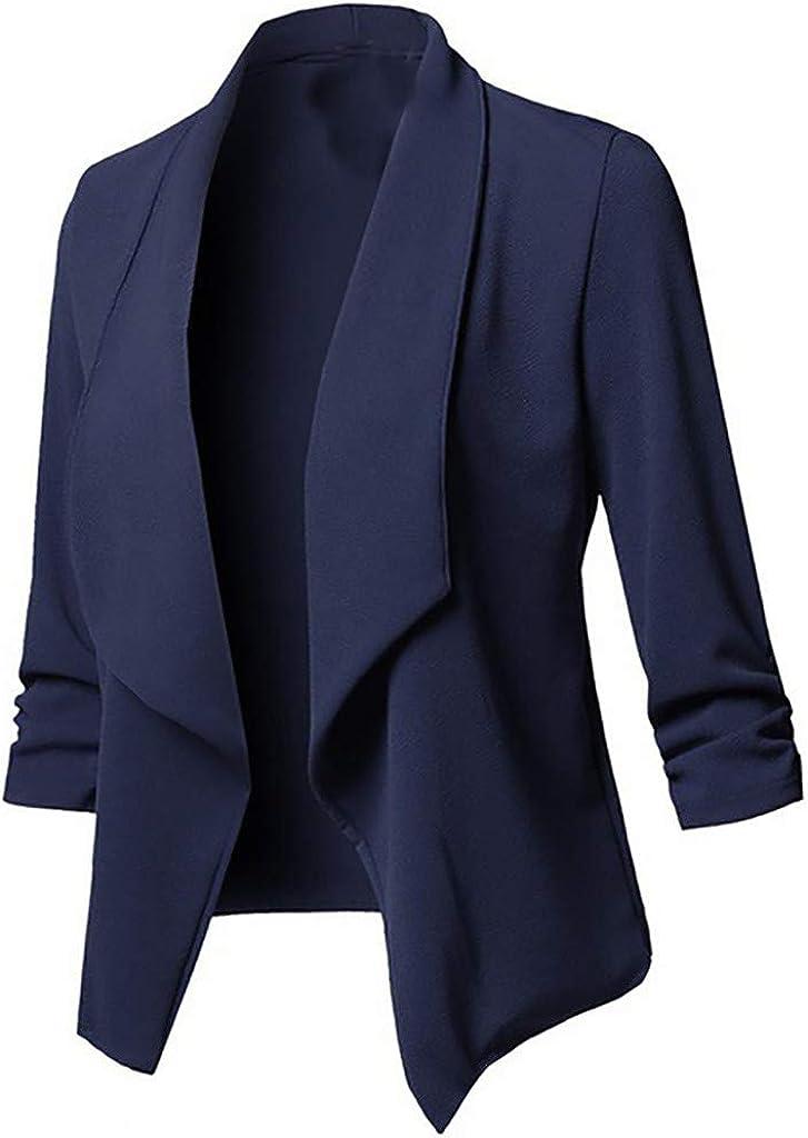 Womens Lightweight Casual Solid Open Front Cardigan Long Sleeve Jacket Coat Raincoat