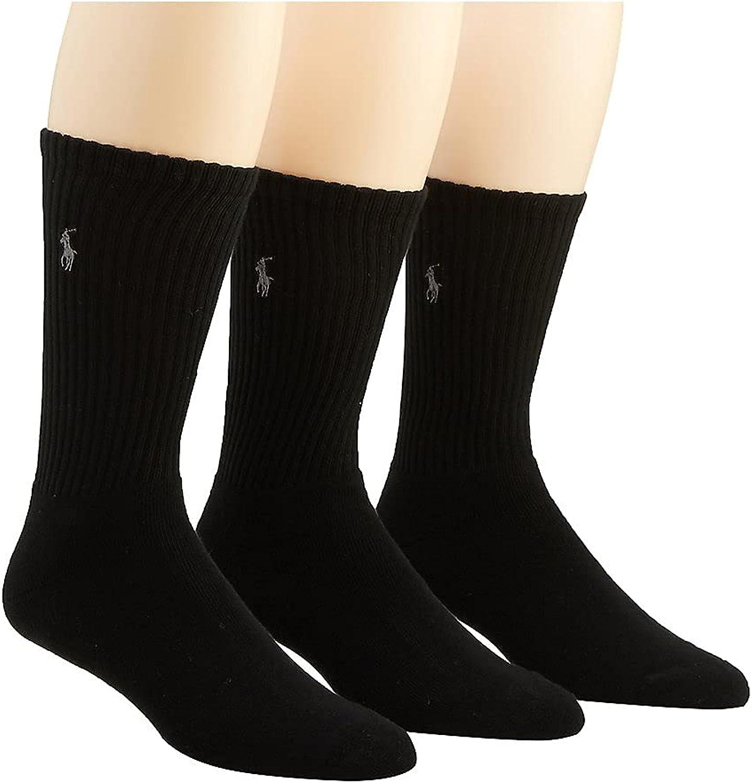 Polo Ralph Lauren Men's Cushioned Foot Ribbed Crew Sock - 3 Pack 8428PK
