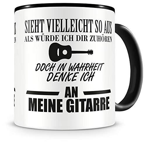Samunshi® Ich denke an meine Gitarre Tasse Kaffeetasse Teetasse Kaffeepott Kaffeebecher Becher H:95mm/D:82mm schwarz