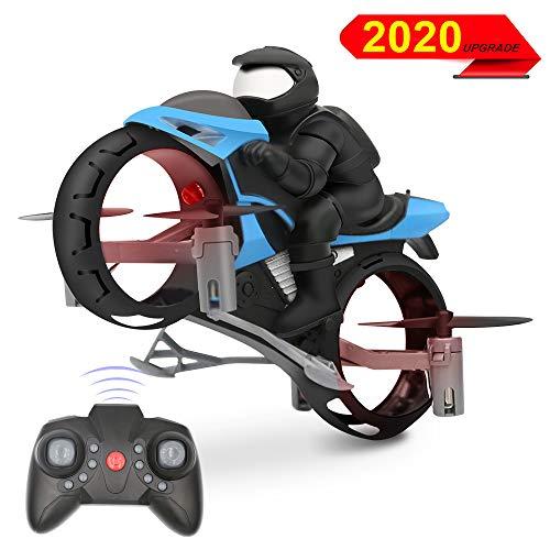3T6B Mini Land Luft Dual Mode Beschleunigungsauto,Fernbedienung für Motorrad Anlaufstart Luftakrobatik Fliegendes Auto mit LED-Leuchten Kinderspielzeug und Geschenke