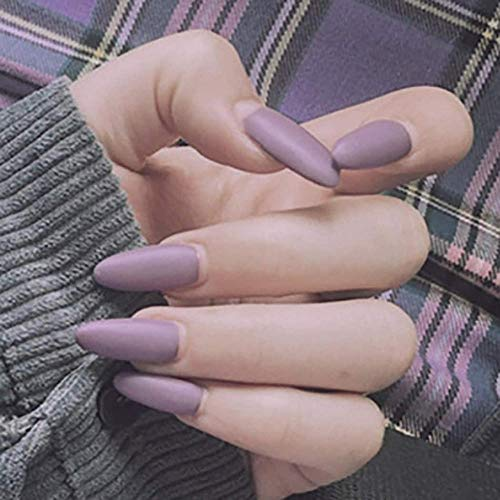 CSCH Faux ongles Coffin False Nails Ballerina Long Fake Nails Matte Stick on Nails Full Cover Acrylic False Nail Tips 24pcs for Women and Girls(Purple-Grey))