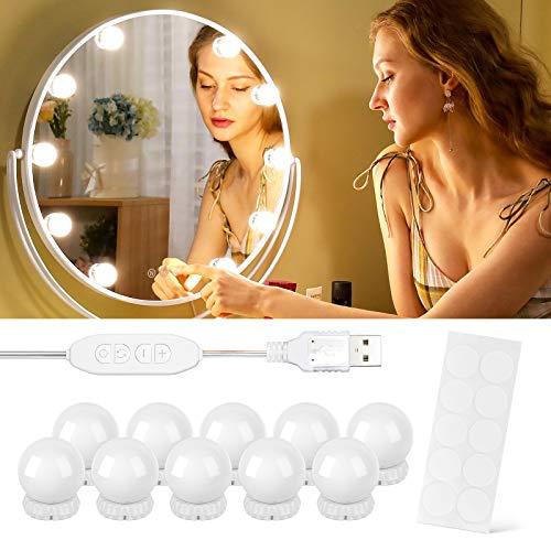 Luces Tocador, EWEIMA Luces Hollywood LED Kit de Espejo con 10 Bombillas, 3 Modos Ajustable de Color de Luz USB Luz Espejo, 3000K-6500K Luces para Espejo de Maquillaje para tocador, Espejo, Baño